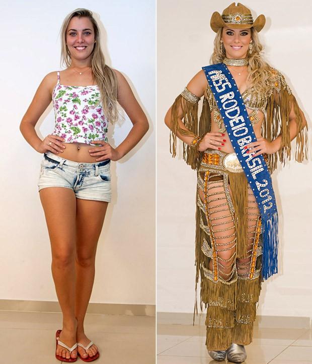 A Miss Rodeio Ingrid Andrade veste 'look' assinado pelo estilista Marcelo Ortale em Barretos, SP (Foto: Érico Andrade/G1)