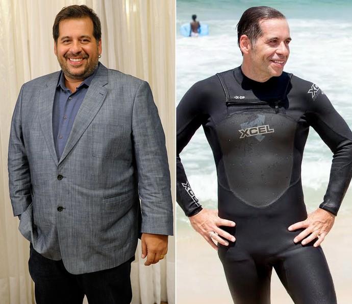 Leandro Hassum antes e depois dos 70kg perdidos (Foto: Estevam Avellar/TV Globo e Ellen Soares/Gshow)