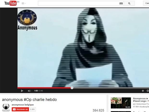 Hackers do Anonymous anunciaram combate a terroristas e extremistas islâmicos (Foto: Reprodução/YouTube)
