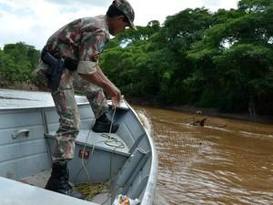 PMA apreende peixes e equipamentos  (Foto: Fábio Renan de Barros Peixoto/ PMA)