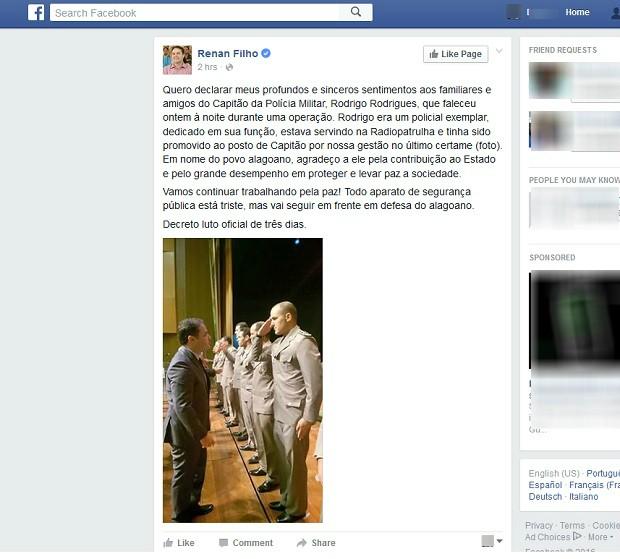 Governador Renan Filho usou as redes sociais para lamentar a morte do policial. (Foto: Reprodução/ Facebook)