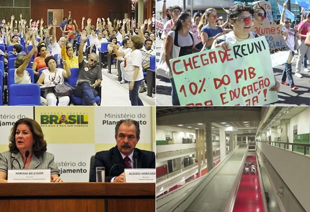 Dois meses de greve: em 15/05, professores da UFPB aprovaram a adesão à greve a partir de 17/05; em 28/06, docentes da UFMT foram às ruas em protesto; em 13/07, a ministra Miriam Belchior e o ministro Aloizio Mercadante apresentaram nova proposta às entidades; na segunda (16), a UFABC seguia sem aulas (Foto: Adufpb/G1/Valter Campanato/ABr)