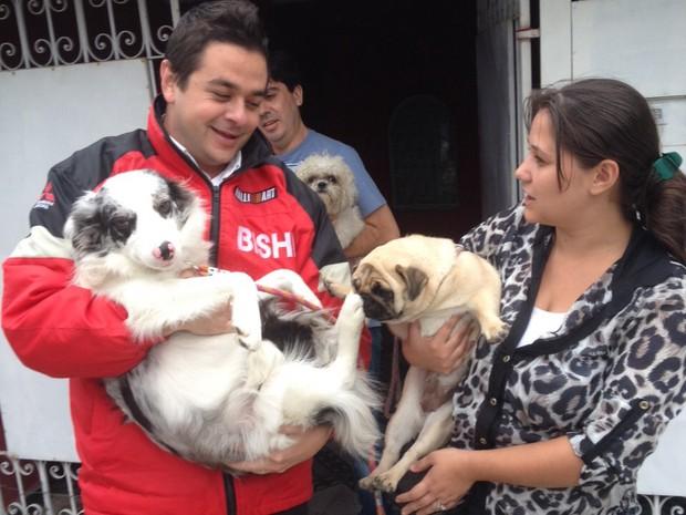 Cães das raças pug e border collie foram encontrados em Taubaté (Foto: Paulo Cassinha/ Arquivo Pessoal)