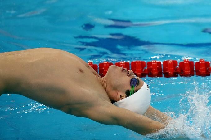Vitor Guaraldo Santos é finalista dos 100m costas, sua especialidade (Foto: Satiro Sodré)