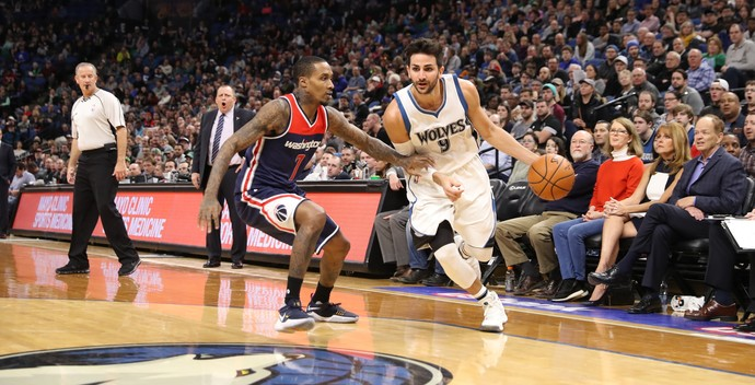 Ricky Rubio no jogo entre Minnesota Timberwolves e Washington Wizards (Foto: Getty Images)