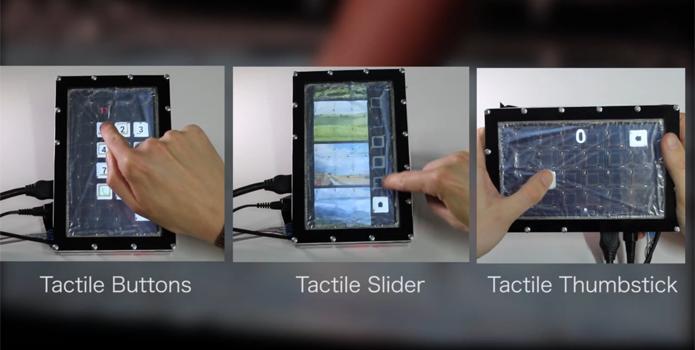 Tela com GelTouch no celular cria botões físicos acionados por calor (Foto: Divulgação/Universidade Técnica de Berlim)