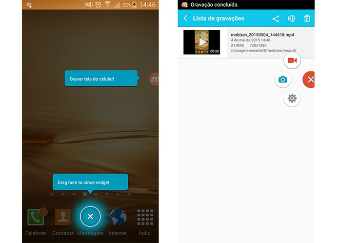 Mobizen também permite gravar a tela do Android com áudio (Foto: Reprodução/Barbara Mannara)