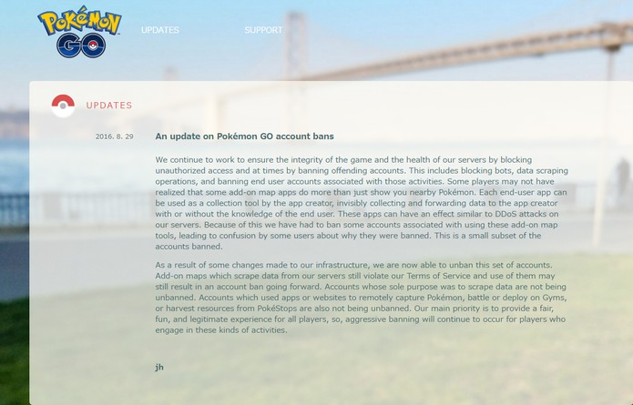 Comunicado da Niantic no blog da empresa (Foto: Reprodução/Pokémon Go Live)