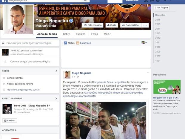 Diogo Nogueira comemorou em sua página oficial do Facebook (Foto: Reprodução/Facebook)