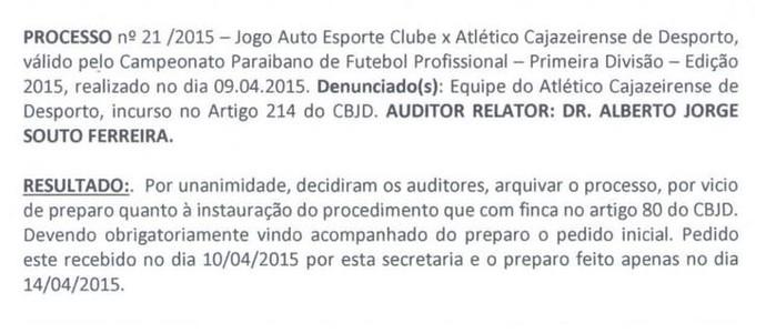 julgamento, Atlético-PB, TJD-PB (Foto: Reprodução / TJD-PB)