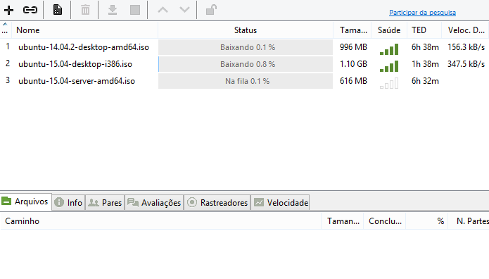 Redução põe torrents extras em fila de espera (Foto: Reprodução/uTorrent)
