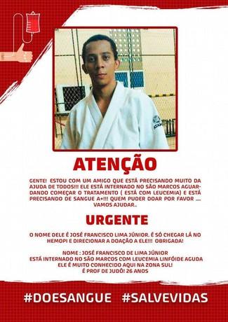 Leucemia, judoca, campanha  (Foto: Divulgação)