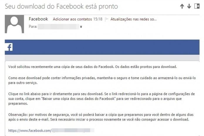Clique no link enviado ao seu e-mail para baixar as informações pessoais de sua conta (Foto: Reprodução/Paulo Finotti)