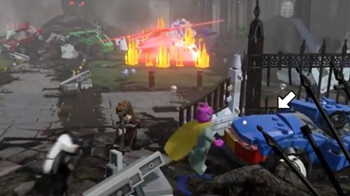 A xícara que o Colecionador procura está logo no carro a sua direita em LEGO Avengers (Foto: Reprodução/Rafael Monteiro)