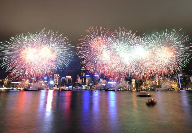 Celebração do Ano Novo Chinês em Hong Kong : a cidade se tinge com o clima de festa para receber o ano que chega (Foto: Getty Images)