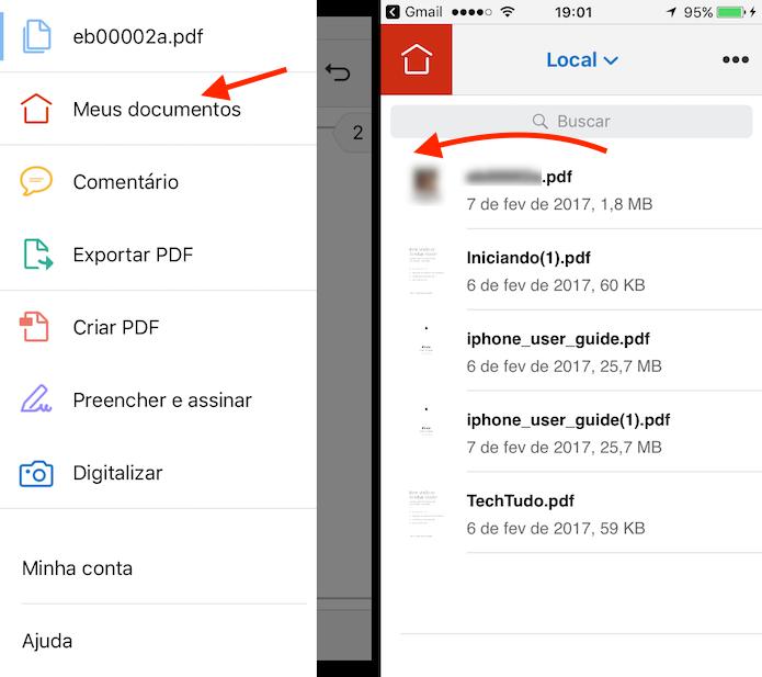 Ação para abrir as configurações de um documento PDF na biblioteca do Adobe Reader para iPhone (Foto: Reprodução/Marvin Costa)