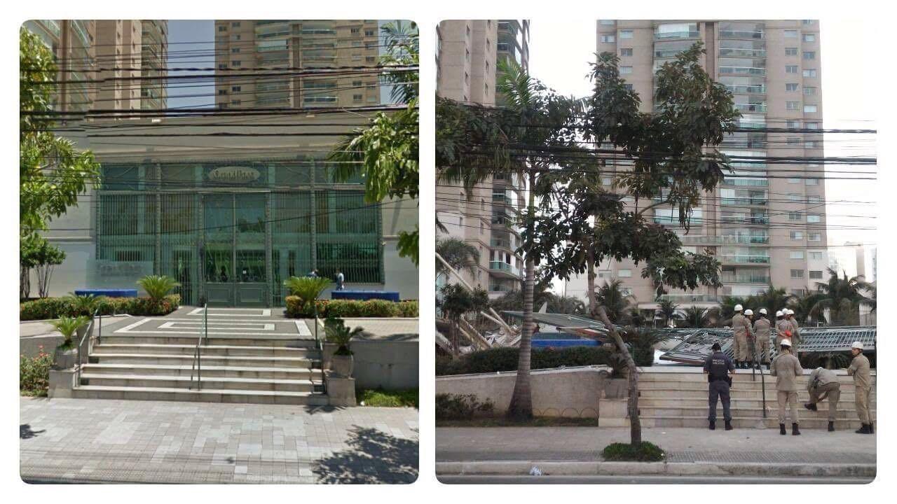 Imagem mostra antes e depois de entrada de prédio que teve desabamento em Vitória (Foto: Reprodução/ Whatsapp)