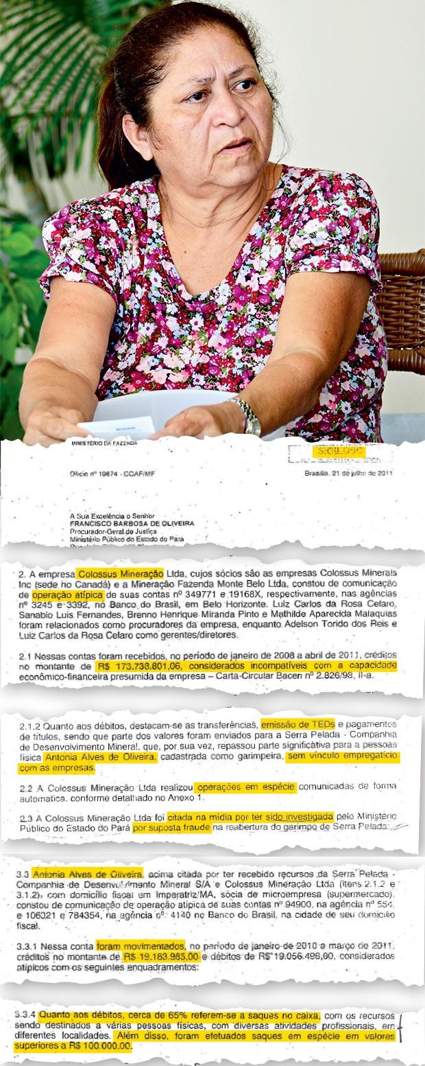 DINHEIRO VIVO Antônia Alves de Oliveira e trechos do relatório  da investigação do Ministério Público.  Ela fez saques na boca do caixa em valores superiores a R$ 100 mil (Foto: Rosana Barros/Imperatriz/ÉPOCA)