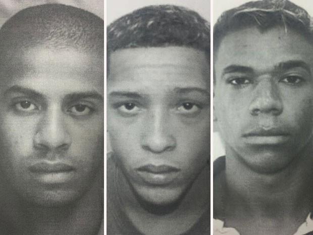 Polícia divulga imagem de suspeitos de estupro coletivo no Rio. Da esquerda para a direita, Raí de Souza, Lucas Santos, Michel Brasil da Silva. (Foto: Divulgação/Polícia Civil do RJ)