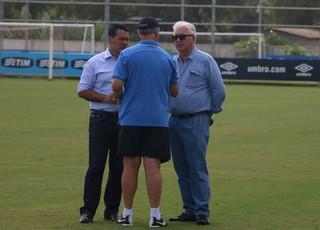 Diretor executivo Rui Costa, Felipão e diretor de futebol Cesar Pacheco Grêmio  (Foto: Eduardo Moura/Globoesporte.com)