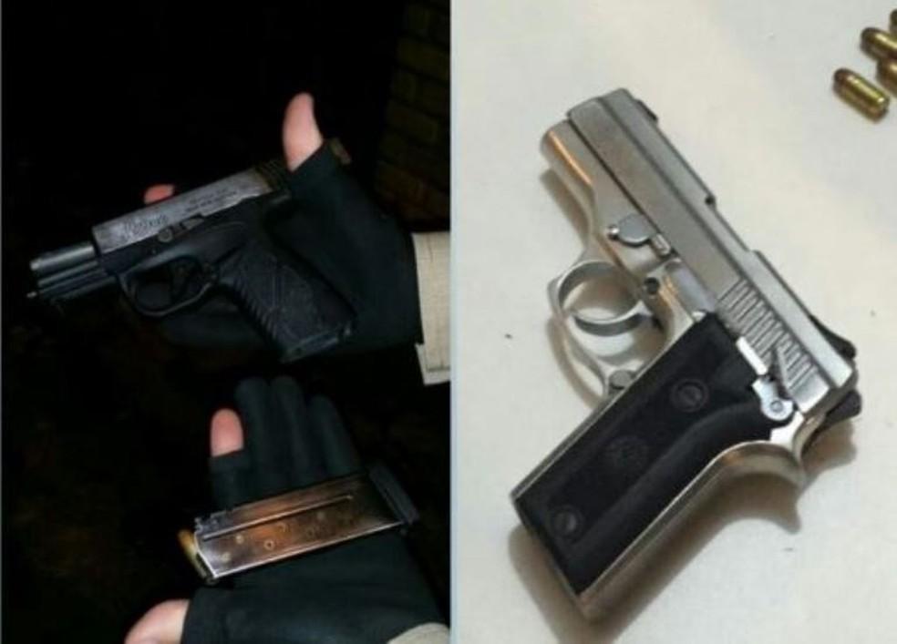 Armas foram apreendidas após tiroteio no Sul da Ilha (Foto: Polícia Militar/Divulgação)