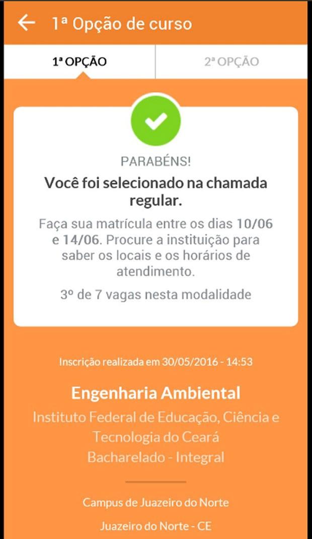 Candidato foi selecionado para o curso de engenharia ambiental no Ceará  (Foto: Reprodução/Twitter)