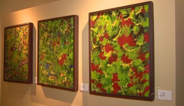 Artista expõe quadros 'camuflagem da natureza' , em Manaus (Foto: Bom Dia Amazônia)