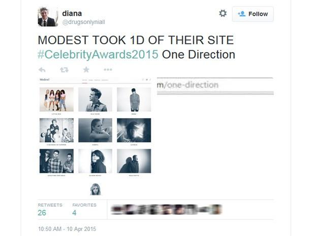 Fãs de One Direction levantam suspeita de que a banda se separou de sua agência (Foto: Reprodução/Twitter)