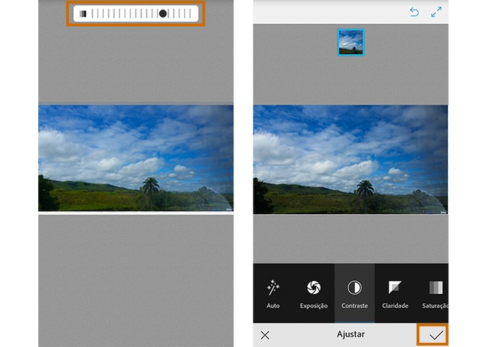 Ajuste a intensidade da edição na foto e confirme a alteração no app (Foto: Reprodução/Barbara Mannara)