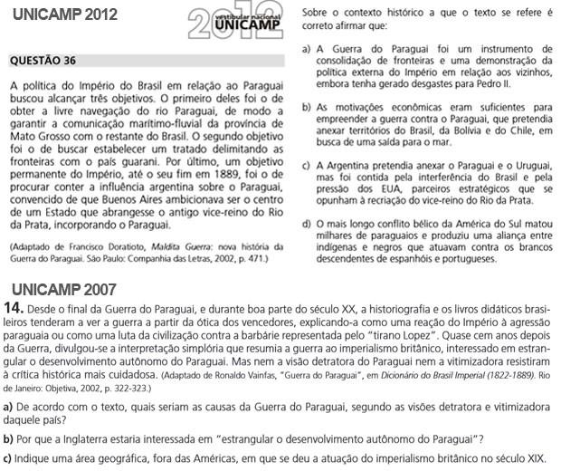 Vestibular da Unicamp cobrou questões sobre a Guerra do Paraguai em 2007 e 2012 (Foto: Reprodução/Comvest)