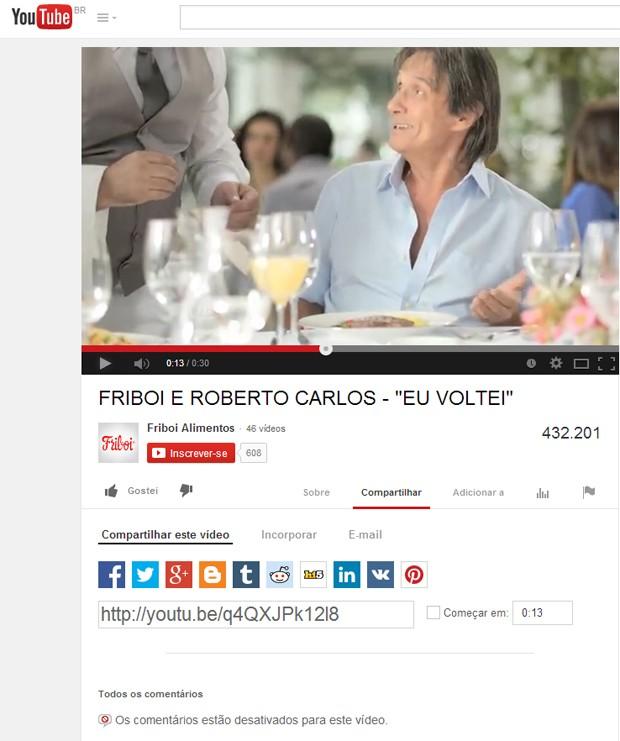 Página da Friboi, no YouTube, onde o vídeo foi postado: fechada para comentários (Foto: Reprodução/YouTube)