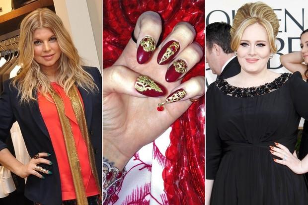 Unhas stiletto - Fergie, Katy Perry e Adele (Foto: Roberto Teixeira / EGO || Getty Images || Reuters)