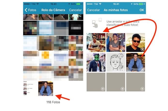 Carregando uma imagem do iPhone no Happn para definir uma nova foto de perfil (Foto: Reprodução/Marvin Costa)