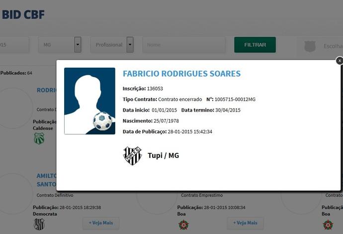 Contrato Fabrício Soares Tupi-MG BID (Foto: Reprodução/CBF)