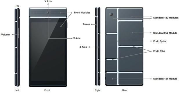Esquema do smartphone modular, que pode ser montado e desmontado, do Projeto Ara, do Google. (Foto: Divulgação/Google)