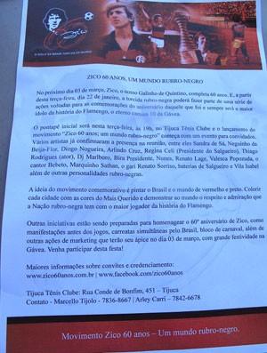 Homenagem aos 60 anos de Zico, que serão completados em março. Panfleto distribuído no Engenhão (Foto: Janir Junior)