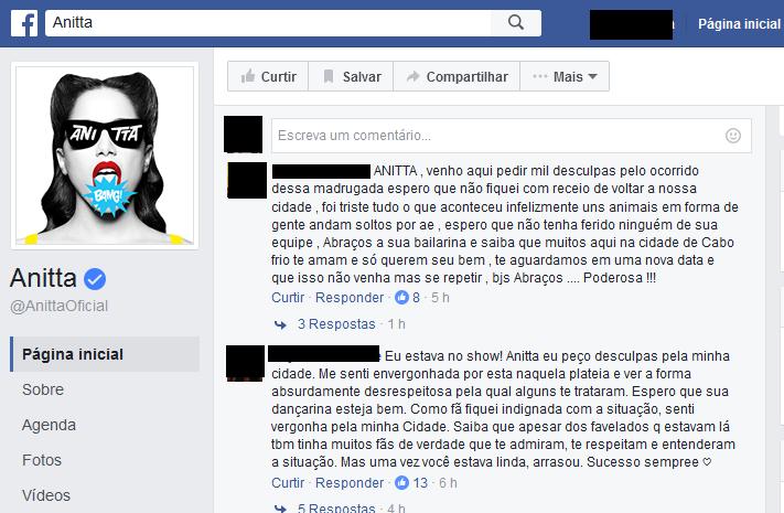 Fãs defenderam cantora em página oficial (Foto: Reprodução/Facebook)