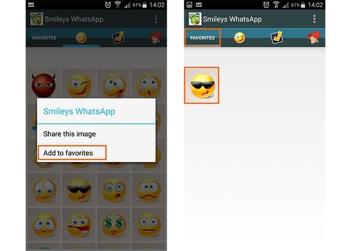 Salve os emojis como favoritos no aplicativo Smileys for WhatsApp (Foto: Reprodução/Barbara Mannara)