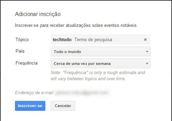 Nova sessão Inscrição o usuário pode selecionar a frequência para receber notificações. ( Foto: Reprodução/ Milena Pereira)