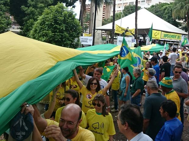 Com faixa das cores verde e amarela, manifestantes protestam em Rio Preto (Foto: Renata Fernandes/G1)