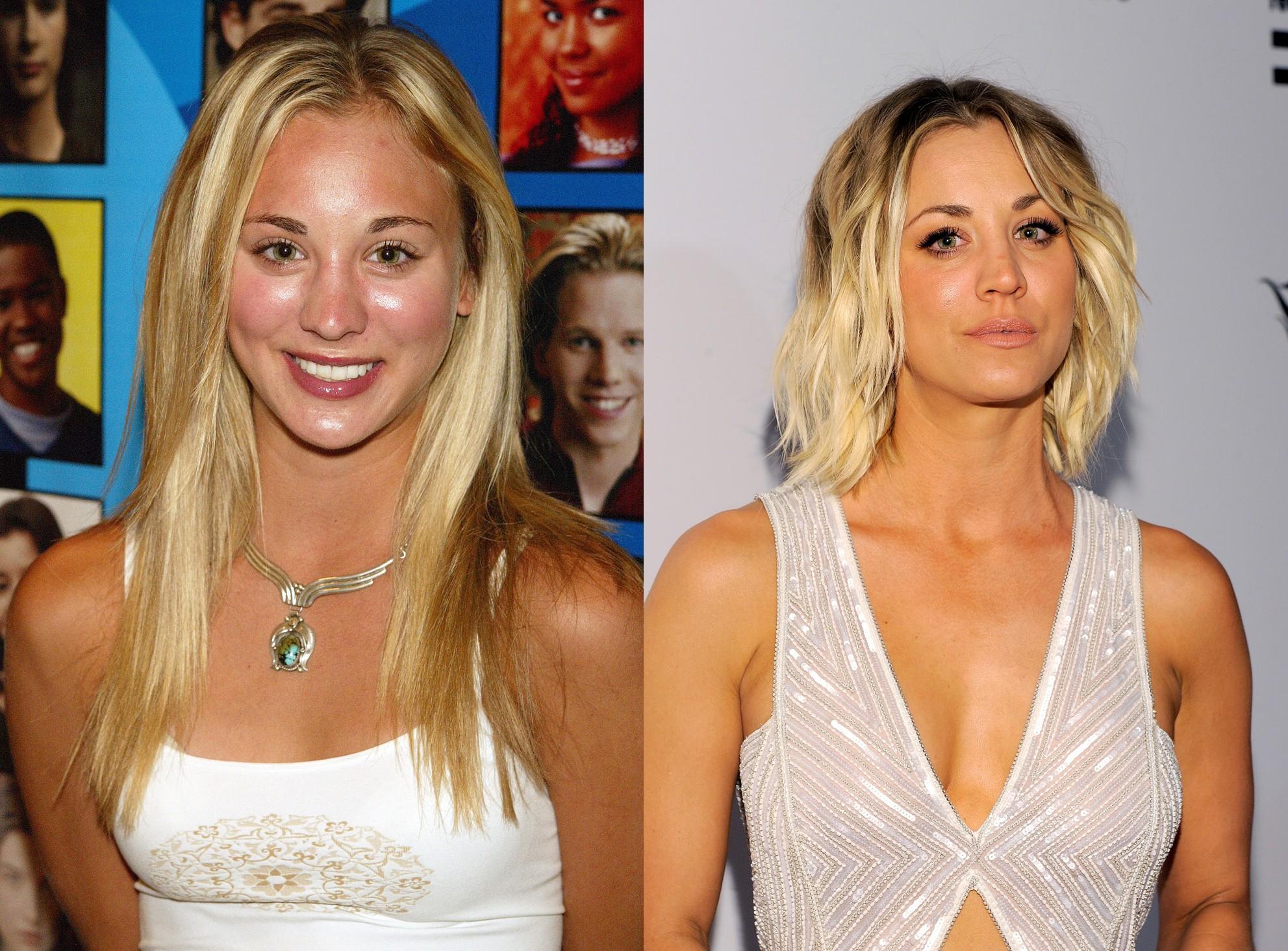 Kaley Cuoco em 2002 e em 2016 (Foto: Getty Images)