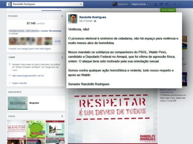 Senador Randolfe Rodrigues solidarizou-se com o correligionário (Foto: Reprodução/Facebook)