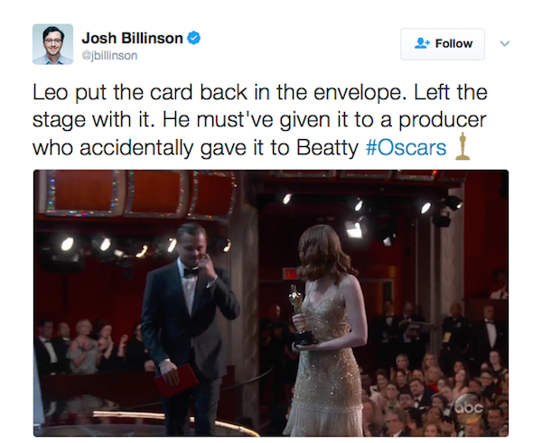 A teoria conspiratória levantada contra Leonardo DiCaprio no Oscar 2017 (Foto: Twitter)