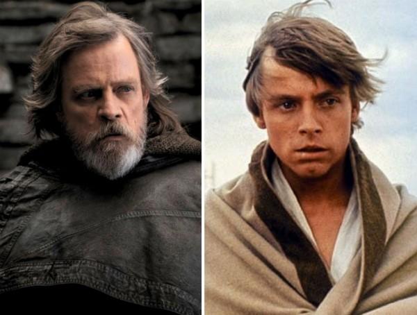O ator Mark Hamill como o herói Luke Skywalker de Star Wars em Os Últimos Jedi (2017) e Uma Nova Esperança (1977) (Foto: Reprodução)