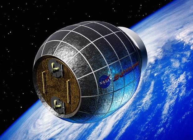Concepção artística mostra como seria o módulo no espaço, em comparação com a Terra (Foto: Nasa/Bigelow Aerospace/Reuters)