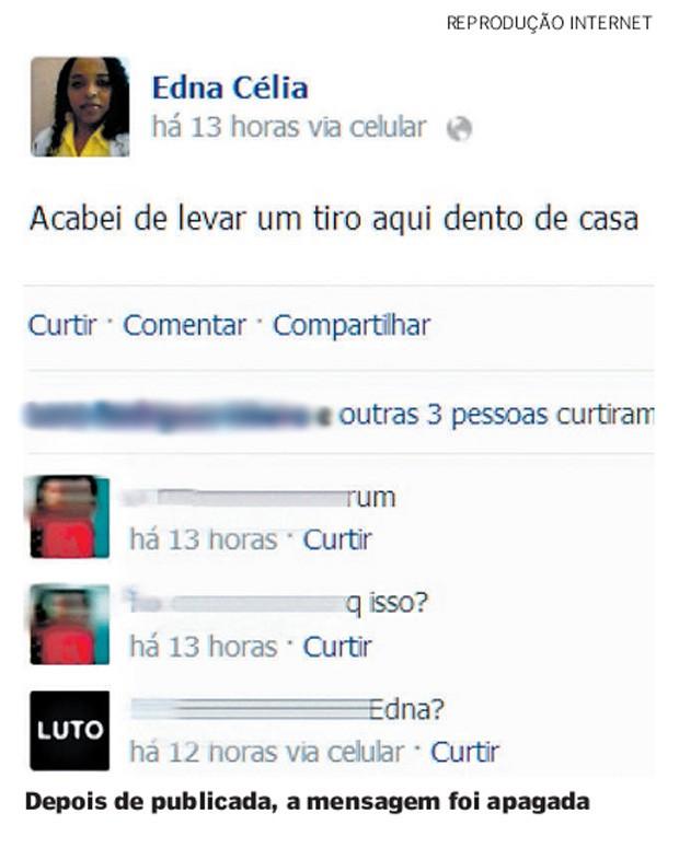 Mensagem publicada no Facebook por vítima antes de morrer. (Foto: Reprodução/ Internet)