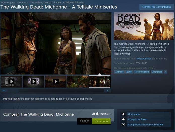Página de TWD: Michonne no Steam (Foto: Reprodução/André Mello)