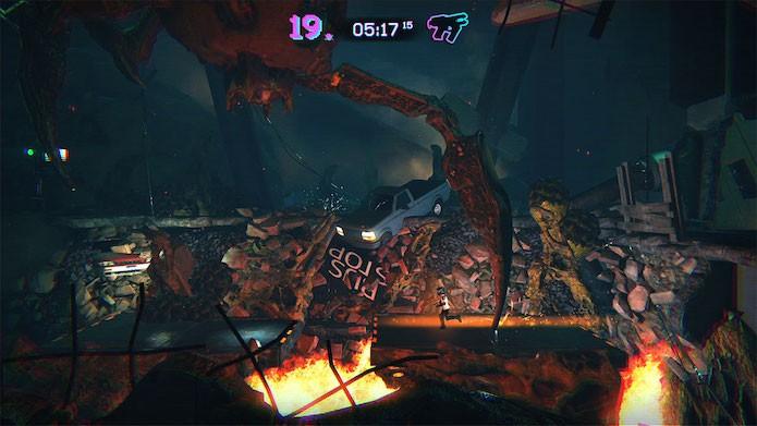 Trials of the Blood Dragon: você também pode se aventurar a pé por certos estágios (Foto: Divulgação/Ubisoft)