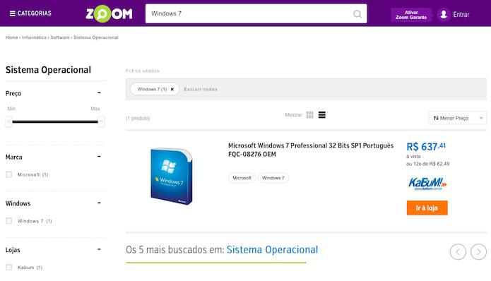 Pesquisando por anúncios do Windows 7 em lojas online (Foto: Reprodução/Helito Bijora)