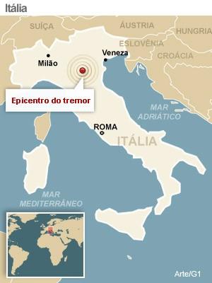 mapa terremoto italia versao 1 (Foto: arte g1)